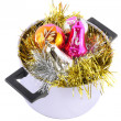 Funny Christmas,New Year-balls,tinsel in saucepan - Stockfoto