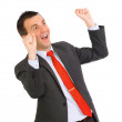 Stock Photo: Businessman-feeling great happy . Isolated