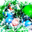 Christmas,New Year decoration-balls, green tinsel — Stock Photo #6513682