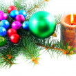 New Year decoration- balls, tinsel, candels. — Stock Photo