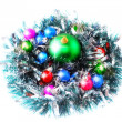 Christmas,New Year decoration-balls, green tinsel — Foto de Stock