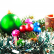 New Year decoration- balls, tinsel, candels. — Stock Photo #6513705