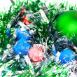 Christmas,New Year decoration-balls, green tinsel - Stockfoto