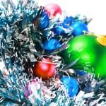 Christmas,New Year decoration-balls, green tinsel — Stock Photo