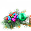 New Year decoration- balls, tinsel, candels. — Stock Photo #6513736