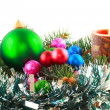Royalty-Free Stock Photo: New Year decoration- balls, tinsel, candels.