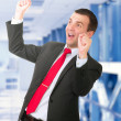 Stock Photo: Businessman-feeling a great happy . Isolated