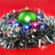 Christmas,  New Year decoration- balls, tinsel. — Stock Photo