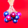 Christmas,New Year decoration-balls .On the red. — Stock Photo #6513773