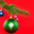 Christmas decoration-colour balls, fir branches.. — Stock Photo