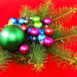 New Year decoration-balls, fir branches ,andels. — Stock Photo