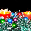 New Year decoration-balls,tinsel,candel . - Stockfoto