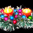Stock Photo: New Year decoration-balls,tinsel,candel .