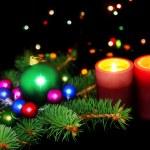 New Year decoration-balls,tinsel,candel . — Stock Photo #6513828