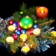 New Year decoration-balls,tinsel,candel . — Stock Photo #6513834