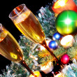 Stock Photo: New Year decoration- balls, tinsel, candels.