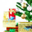Fragment of New Year Tree with gift boxes — Stock fotografie
