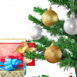 Fragment of New Year Tree with gift boxes — Stock Photo