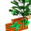 Fragment of New Year Tree with gift boxes - Foto de Stock