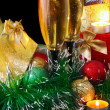 New Year decoration- balls, tinsel, candels. - Stock Photo