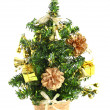 Little basket with New Year tree. Decoration — Stock Photo
