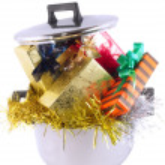 Funny Christmas,New Year-balls,tinsel in saucepan — Stock Photo