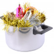 Funny Christmas,New Year-balls,tinsel in saucepan — Stockfoto