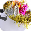 Funny Christmas,New Year-balls,tinsel in saucepan — Stock Photo