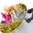 Funny Christmas,New Year-balls,tinsel in saucepan — ストック写真