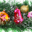 Christmas,New Year decoration-balls, green tinsel — ストック写真