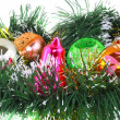 Christmas,New Year decoration-balls, green tinsel — Zdjęcie stockowe