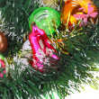 Christmas,New Year decoration-balls, green tinsel — Photo