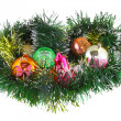 Christmas,New Year decoration-balls, green tinsel — Stock Photo #6514083