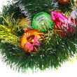 Christmas,New Year decoration-balls, green tinsel — Stockfoto