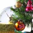 New Year, Christmas Tree,gift boxes,clock.Isolated - Stok fotoğraf