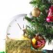 New Year, Christmas Tree,gift boxes,clock.Isolated — Stock Photo