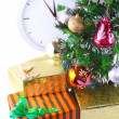 New Year, Christmas Tree,gift boxes,clock.Isolated - Lizenzfreies Foto