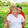 "Elderly couple showed up thumbs All just fine!"" — Stock Photo"