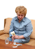 Senior lady woman with medication pills. — Stock Photo
