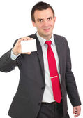 Caucasian businessman with empty,blank white card. — Stock Photo