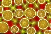 背景纹理-水果混合红色背景上. — 图库照片