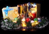 New Year decoration- balls, tinsel, candels. — Stock Photo