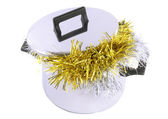 Funny Christmas,New Year-tinsel in saucepan — Stock Photo