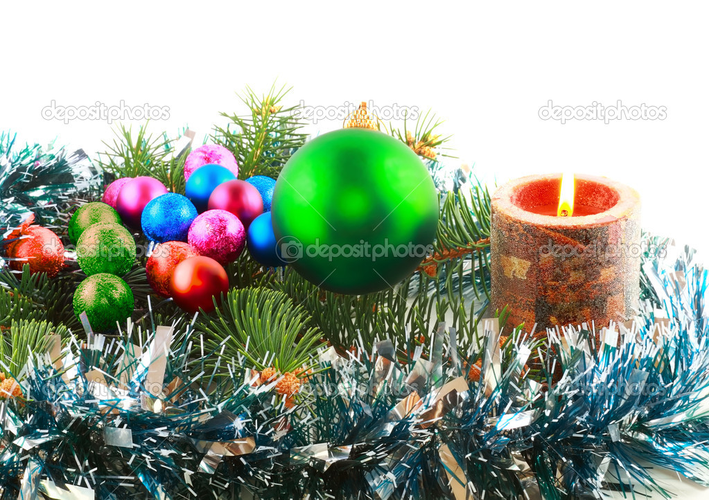 Christmas and New Year decoration- glass balls, green tinsel . Close-Up. On white background, isolated. — Stock Photo #6512988