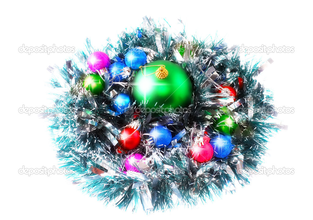 Christmas and New Year decoration- glass balls, green tinsel . Close-Up. On white background, isolated. — Stock Photo #6513691