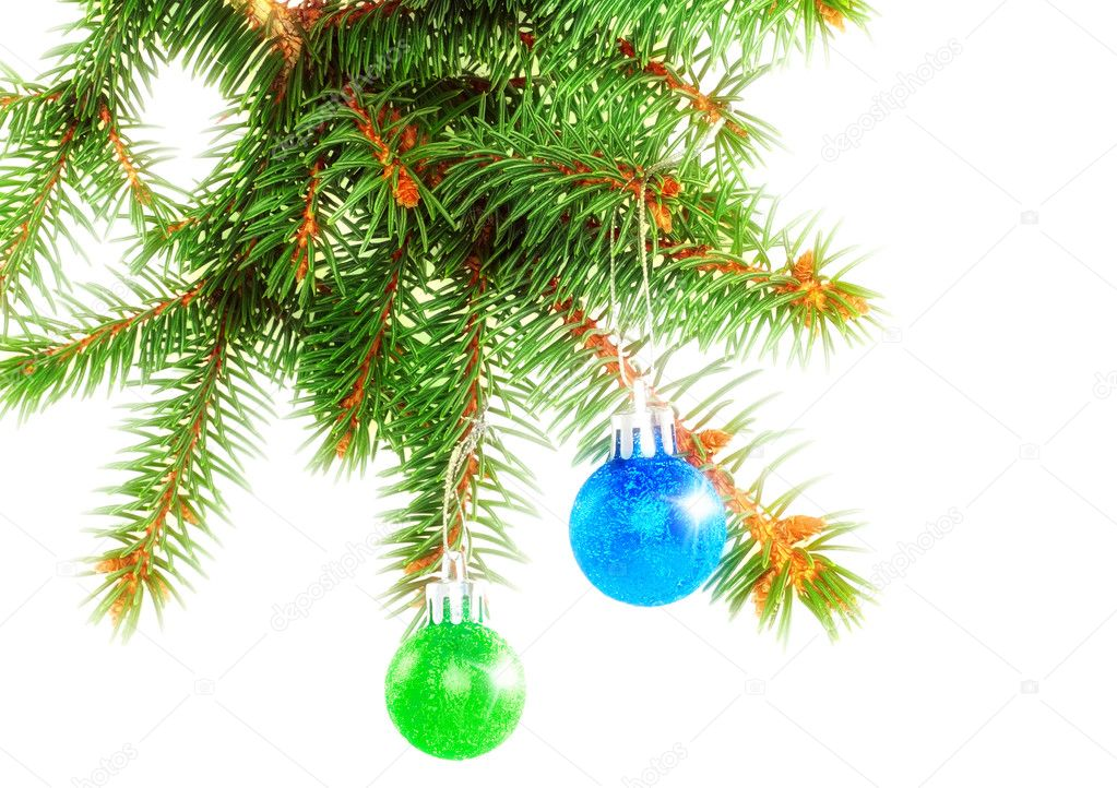 Christmas decoration-glass  ball on fir branches.Isolated — Stock Photo #6513693