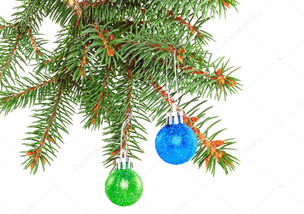 Christmas decoration-glass  ball on fir branches.Isolated — Stock Photo #6513712