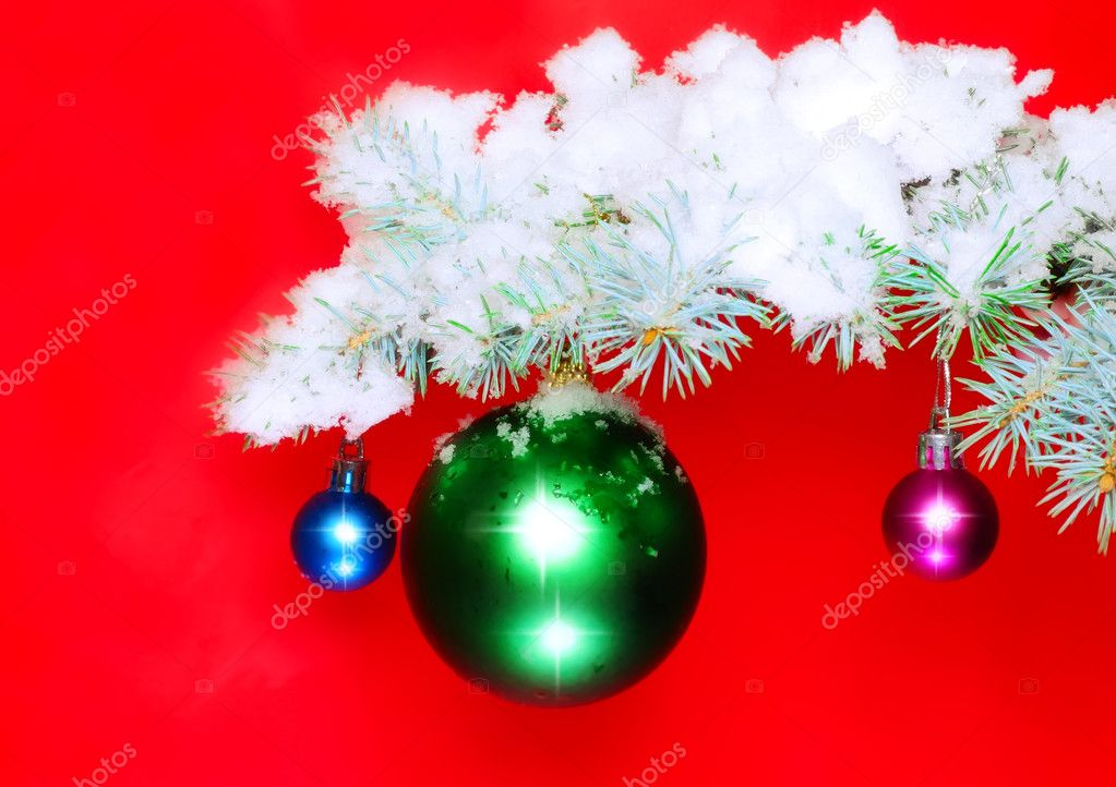 Christmas and New Year decoration- balls with real snow-covered fir branches .On red background — Stock Photo #6513805