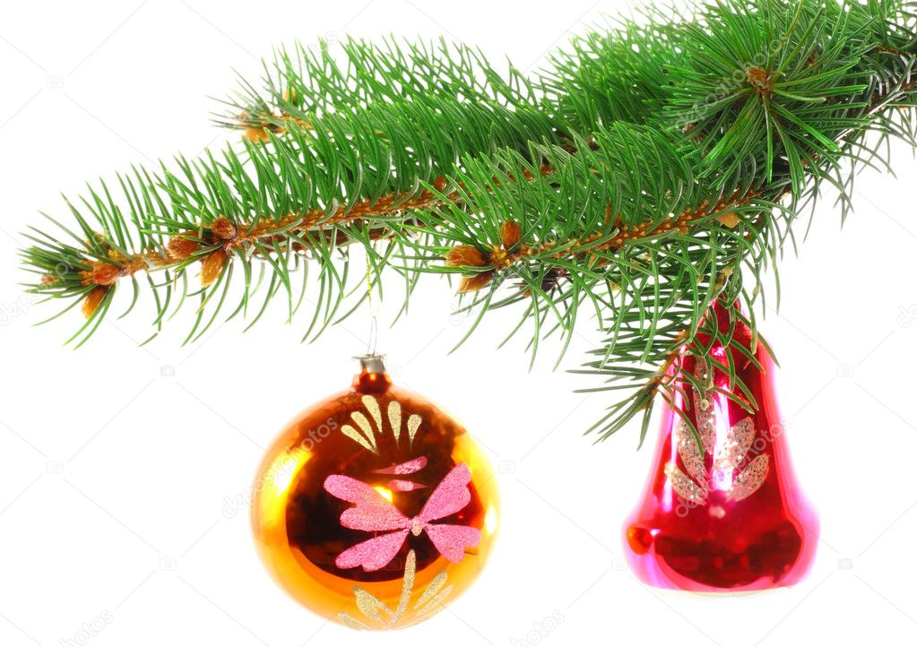 Christmas decoration-glass  ball on fir branches.Isolated — Stock Photo #6514031