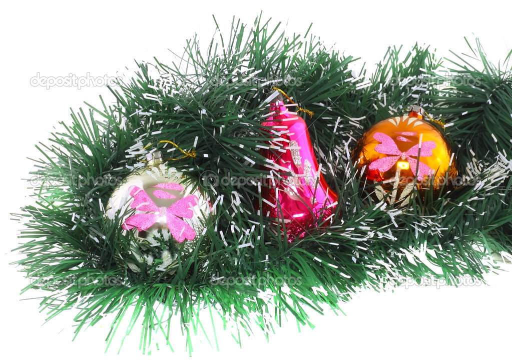 Christmas and New Year decoration- glass balls, green tinsel . Close-Up. On white background, isolated. — Stock Photo #6514069